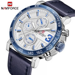 NAVIFORCE Men Sports Watches Men's Leather Army Military waterproof Watch Man Quartz Clock silver blue as picture