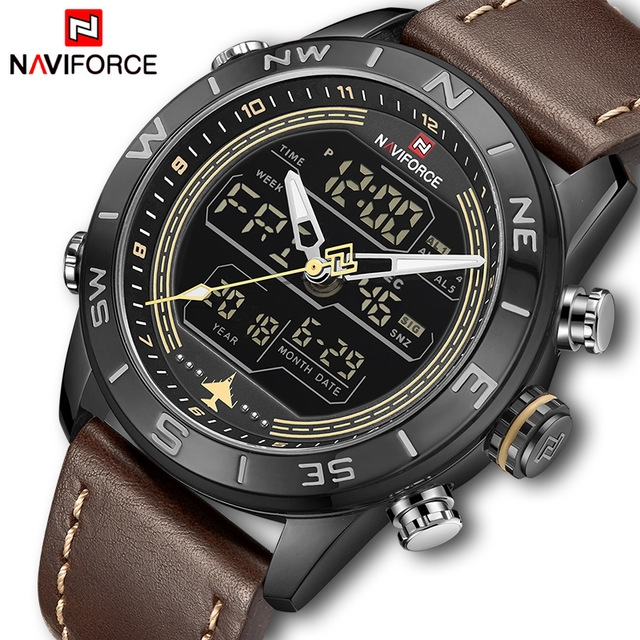 NAVIFORCE Men's Fahison Sport Watches Men Quartz Analog Digital Clock Leather Army Military Watch black brown as picture