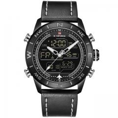 NAVIFORCE Men's Fahison Sport Watches Men Quartz Analog Digital Clock Leather Army Military Watch black white as picture