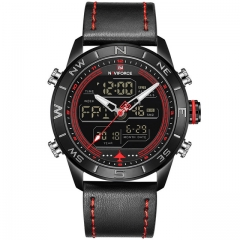 NAVIFORCE Men's Fahison Sport Watches Men Quartz Analog Digital Clock Leather Army Military Watch black red as picture