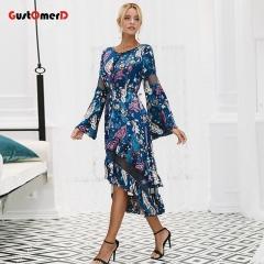 GustOmerD Ruffles print long dress women Mesh hollow out flare sleeve high waist dresses S as picture