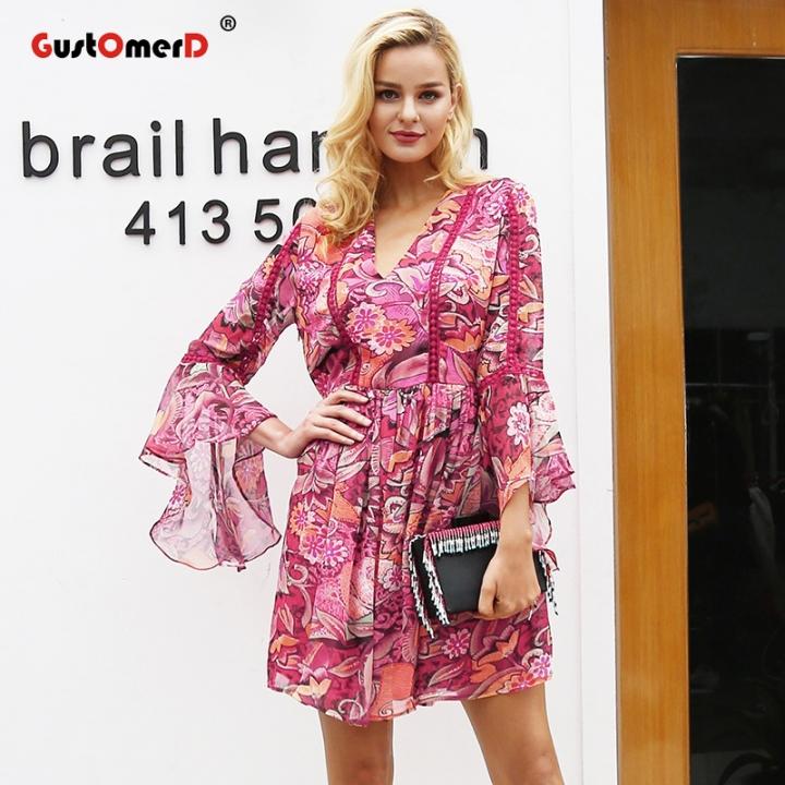 75b99caf6519 GustOmerD Flare sleeve v neck print dress women Casual floral high waist  dress Fashion robe dress