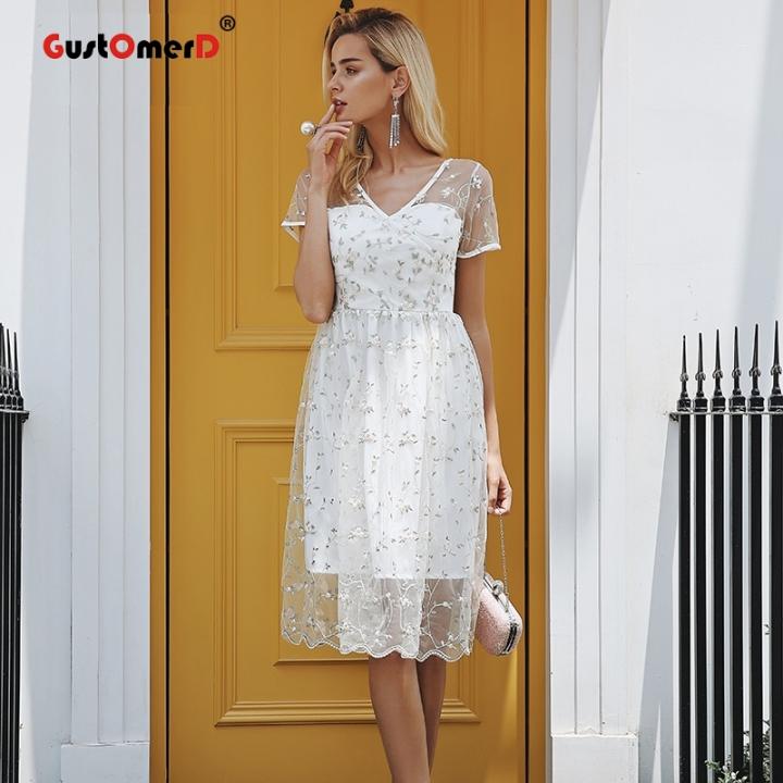 GustOmerD Floral print embroidery midi dress Elegant short summer dress women Sexy backless dresses XS white