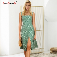 GustOmerD Print strap vintage dress summer Split zipper casual dress women High waist floral dress S green