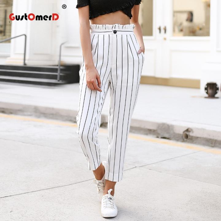 c2dbab4463b GustOmerD striped harem pants Ruffle loose casual pants women 2018 Summer  trousers high waist pants white