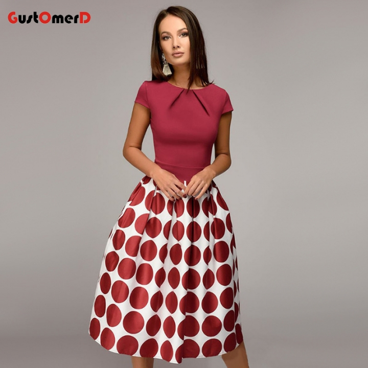Women Vintage Dot Print Party Dress Short Sleeve A-line Dress 2018 Summer Elegant Prom Dress Female XXL red