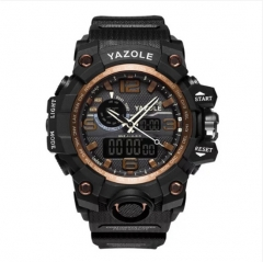 YAZOLE Sport Watch Men Diving Camping Waterproof Clock For Mens Watches Top Brand Luxury Military black gold as picture
