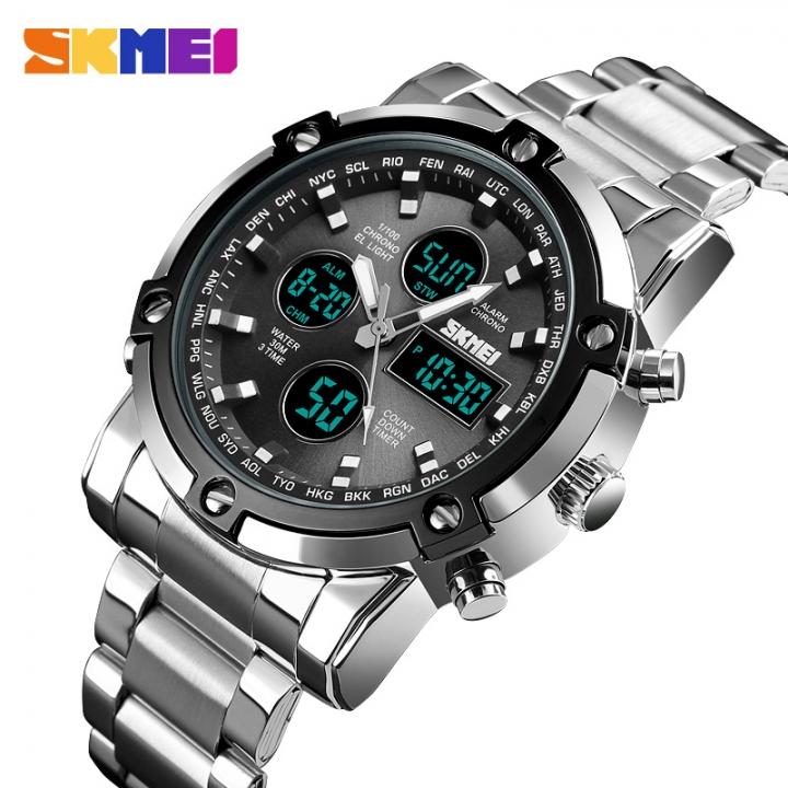 SKMEI Men Quartz Watch Outdoor Sports Digital Watch Countdown Stainless Steel Strap Men Wristwatch silver black as picture