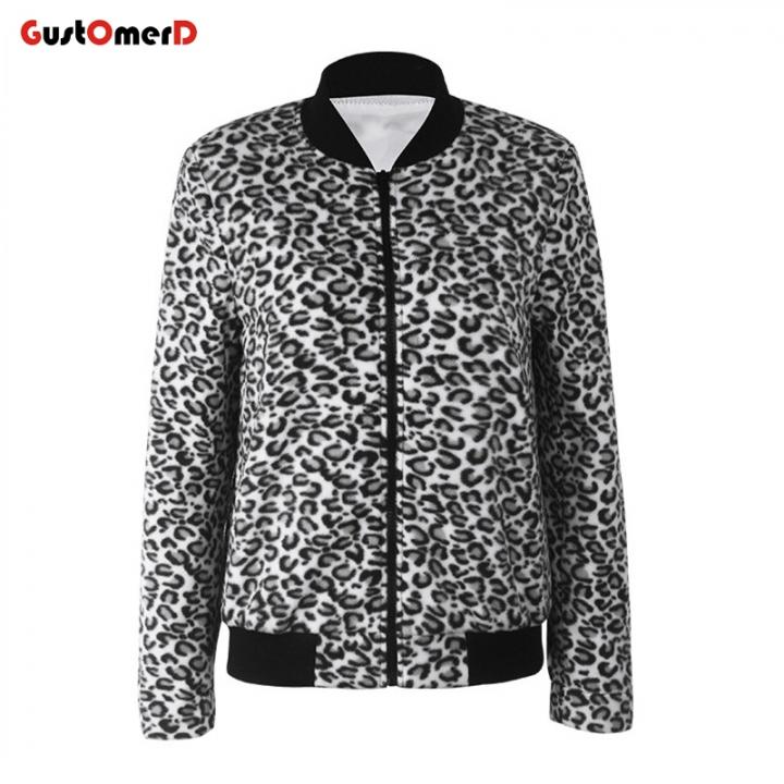 926b186cf7b6 GustOMerD Baseball Sweatshirt Coat Women's Contrast Leopard Print Jacket Zip  Long Sleeve Jacket as picture l