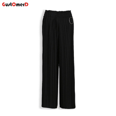 GustOMerD Women Hign Waist Wide Leg Pants Chiffon  Casual Loose Trousers Ladies Solid Color Pants black free style