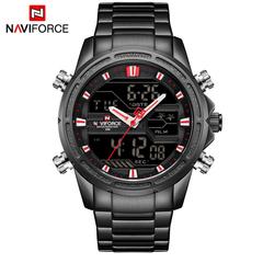 NAVIFORCE Men Military Sport Watches Mens LED Analog Digital Watch Male Army Stainless Quartz Clock black red as picture