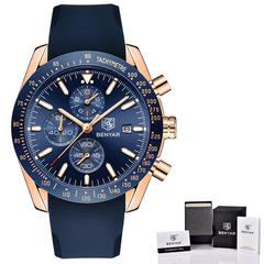 BENYAR Men Watches Brand Luxury Silicone Strap Waterproof Sport Quartz Chronograph Military Watch 1 as picture