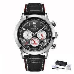 BENYAR Watch Men Fashion Sport Quartz Mens Watches Top Brand Luxury Business Waterproof Watch l silver red B as picture
