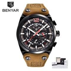 BENYAR Mens Watches Chronograph Sport Mens Watches Fashion Brand Waterproof Military Watch black red B as picture