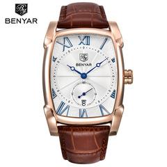BENYAR Men's Watch Date 30m Waterproof Clock Male Casual Quartz Watches Men Wrist Sport Watch gold white B as picture