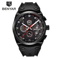 BENYAR Waterproof 30M Outdoor Hollow Sports Chronograph Watch Skeleton Calendar Men's Quartz Watches black red as picture