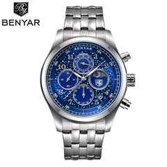 BENYAR Mens Watches Moon Phase Steel Quartz Chronograph Watch Sports Military Waterproof Wrist Watch S blue B as picture