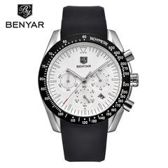BENYAR Men Watch Luxury Male Silicone Strap Waterproof Sport Quartz Chronograph Military Wrist Watch white B as picture