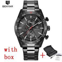 BENYAR Waterproof Men's Watches Full Steel Quartz Analog Army Military Sport Watch Men Clock steel all black B as picture
