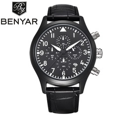 BENYAR Waterproof Leather Fashion Chronograph Sports Watches Luxury Brand Date Men's Quartz Watch leather black as picture