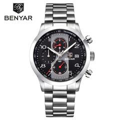 BENYAR Fashion Chronograph Sport Watches Men Stainless Steel Strap Brand Quartz Watch Clock black B as picture