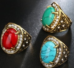 FH Brand  Fashion alloy turquoise ring antique jewelry small jewelry ring finger jewelry. Red 9