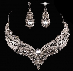FH Brand  Hot Bride Alloy Inserts Diamond Necklace Earrings With  Ornaments Jewelry Accessories ONE SIZE ONE SIZE