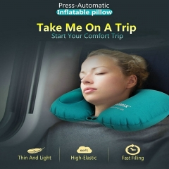 FH Brand Three Seconds To Use, Avoid Blowing  Travel Neck Pillow  Be Inflated  Foldable Light &Thin BLUE