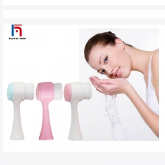 FH Brand Manual Soft Hair Silicone Face Wash Face Brush Discharge Makeup to Clean the Pores. Black