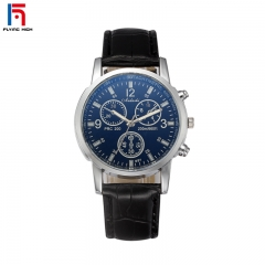 FH Brand Men's Stainless Steel Round Business  Watches Synthetic Sapphire Pure & Clear Window one color one size