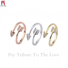 FH Brand The Diamond-encrusted Arrowhead  Jewelry Ring For Both Men and Women 。Opening Adjustable gold one size