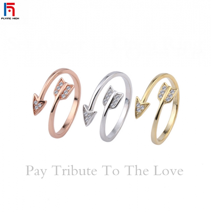 FH Brand The Diamond-encrusted Arrowhead  Jewelry Ring For Both Men and Women 。Opening Adjustable rose gold(women) one size