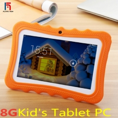 FH Brand  Four Core 7 inch Quad Core Kids Tablet PC with silicon case stand -1.3GHz +8GB+1G 2camera orange