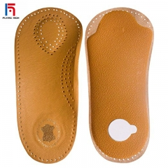 FH Brand Leather Shoes Insole Orthotic Inserts With Rigid Arch Support Relieve Pain Self Adhesive Brown 42-43
