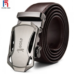 FH BrandGolf Men's Automatic Cowhide Leather Belt Suitable for  Business Casual Wear. High Quality Brown 125mm