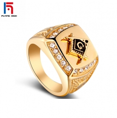 FH Brand Alloy 2019 Hot Sell Gold Diamond  Ring Men  Hip Pop Popular  Accessories Ring ONE COLOR ONE COLOR
