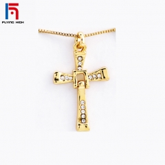 FH Brand  Speed and Passion 8 Cross Pendant Men's Necklace With Jewelry Chain Accessories. GOLD one size