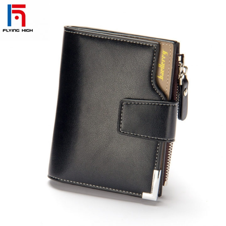 FH Brand Business Leisure men wallet  multi-functional leather clip zipper with  three-fold pocket one color one size