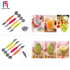 FH Brand For Kitchen Multifunction  Baller Scoop Spoon with Fruit Carving Knife Ice Cream  Made Dish Colorful 18.5*3cm