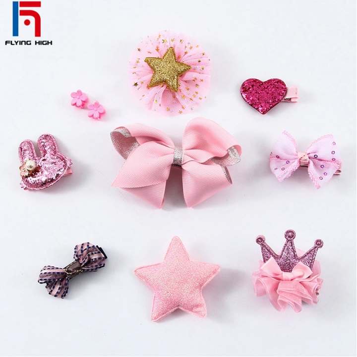 FH Brand Girl Hair AccessoriBaby Birthday Presents Festival HairpinCrownBow Accessories A Set Have10 Pink