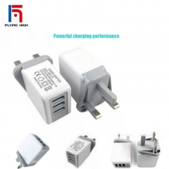 FH Brand 3USB British Chargers Large Current Direct Charge Multiple Intelligent Quick Chargers White 3 USB