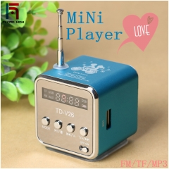 FH Brand Music Player, New Mini Digital Portable Music MP3/4 Player TF Card USB Disk Speaker FMRadio blue
