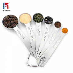 FH Brand A Set of 6 Stainless Steel Measuring Spoons,  For Measuring Dry and Liquid Ingredients one one
