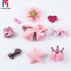 FH Brand Girl Hair AccessoriBaby Birthday Presents Festival HairpinCrownBow Accessories A Set Have10 random
