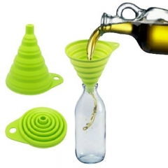 FH Brand Flexible Silicone Foldable Kitchen Funnel for Liquid/Powder Transfer green one