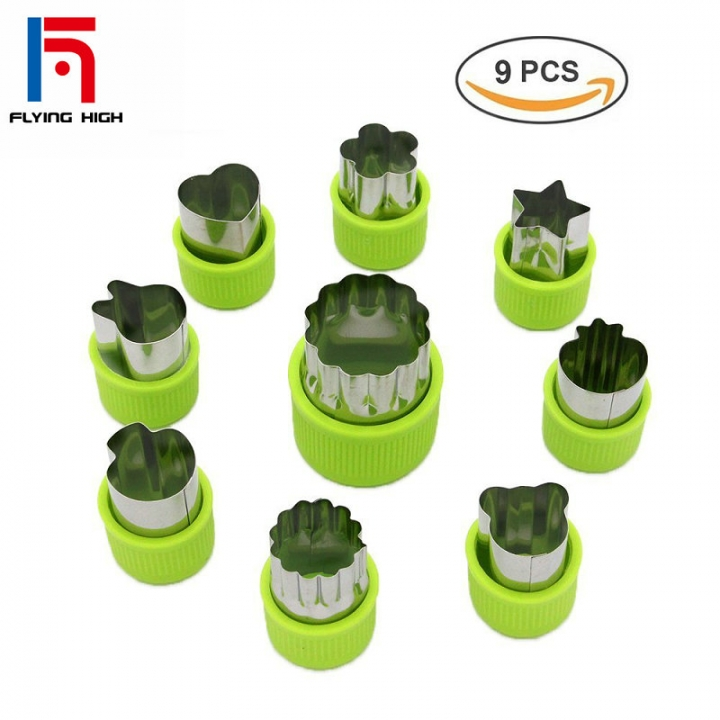 FH Brand Vegetable cutter ,Mini Pie,Fruit And Cookie Stamps Mold, Child Food Tools,9 Pcs green one
