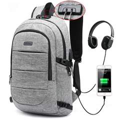 FH Brand 17-Inch Bag Business Laptop Backpack Waterproof  USB Charging Port & Headphone interface gray 17-inch