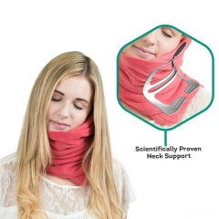 FH Brand Scientifically Proven Super Soft Neck Support Travel Pillow - Machine Washable Red