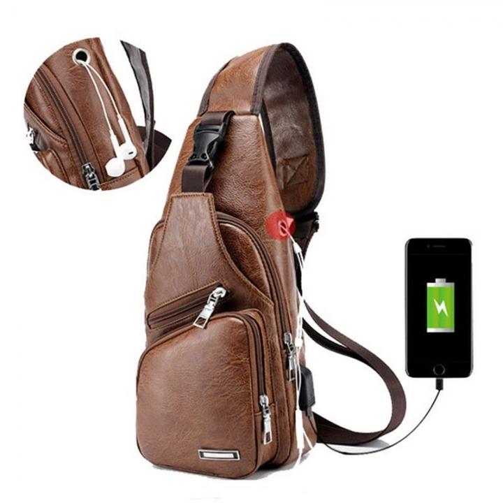 FH Brand  Fashion Men's Bags USB Charging PU  Sport Shoulder  Leisure, Business Bags Brown 16*10*34cm