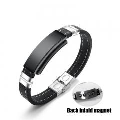 FH Brand  Men's Fashion  Magnet Bracelet Student silicone Bracelet Perimeter 210MM Black 21cm